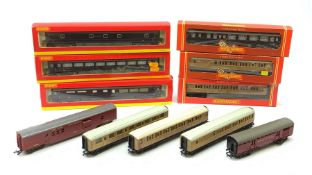 Hornby '00' gauge - four Royal coaches, all boxed; five teak finish passenger coaches, two boxed; an