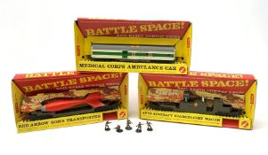 Tri-ang/Hornby '00' gauge - Battle Space Medical Corps Ambulance Car, Red Arrow Bomb Transporter and
