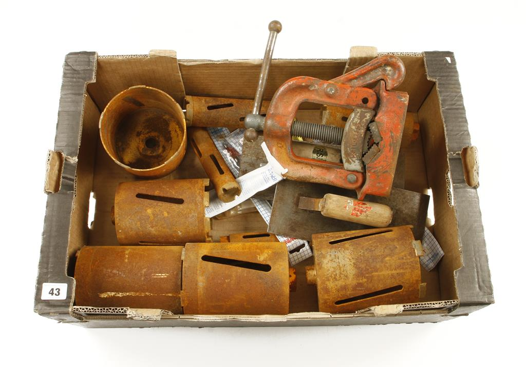 """Lot 43 - A set of 10 large masonry hole core cutters to 5"""" and other tools G"""