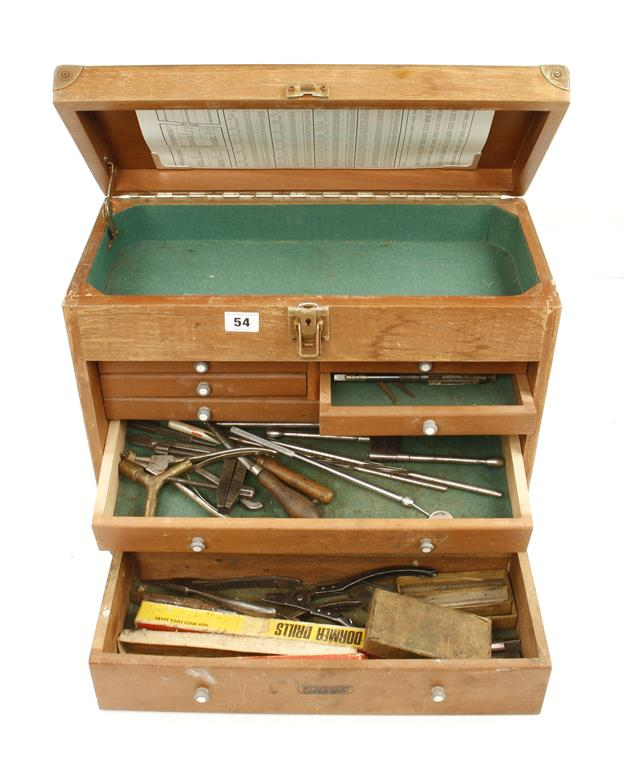 Lot 54 - An engineers seven drawer tool chest with some tools,