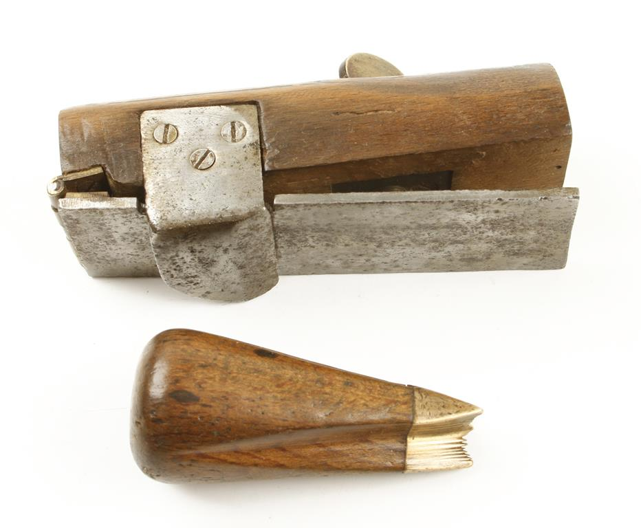 Lot 68 - A basket maker's osier shave and a gunmetal tipped cleaver G