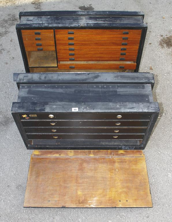 Lot 55 - Two patternmakers carrying cases with fitted drawers G