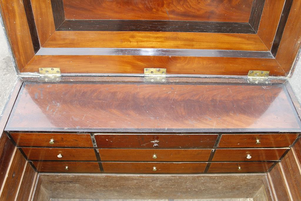 """Lot 61 - A cabinetmaker's pine chest 40"""" x 25"""" x 25"""" veneered in mahogany and rosewood,"""