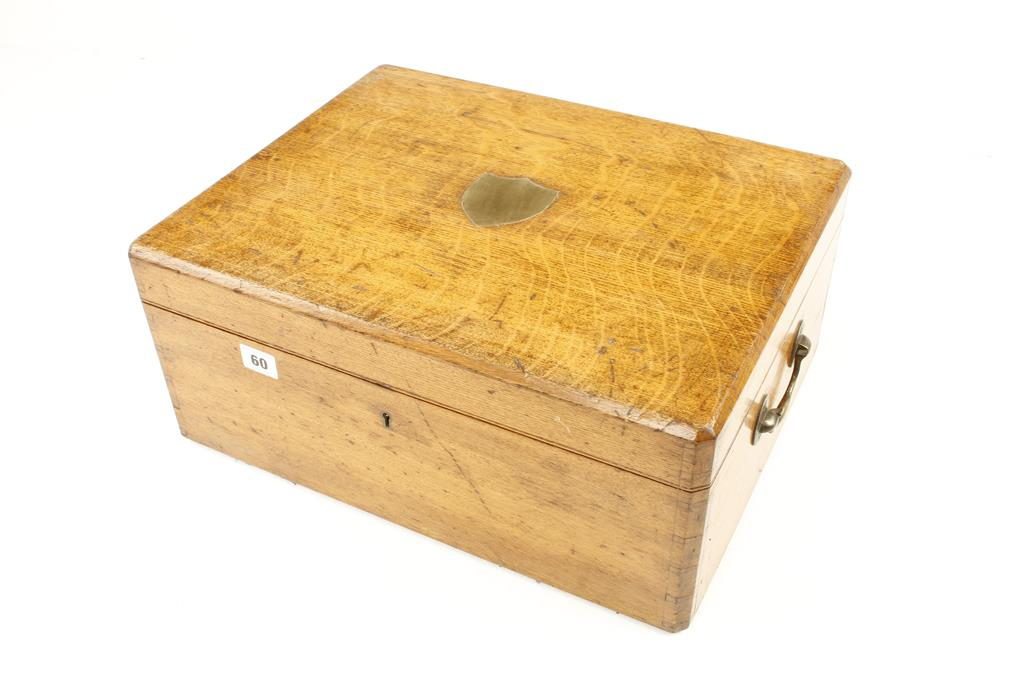 """Lot 60 - An oak box 18"""" x 14"""" x 8"""" with brass handles and three other boxes G"""
