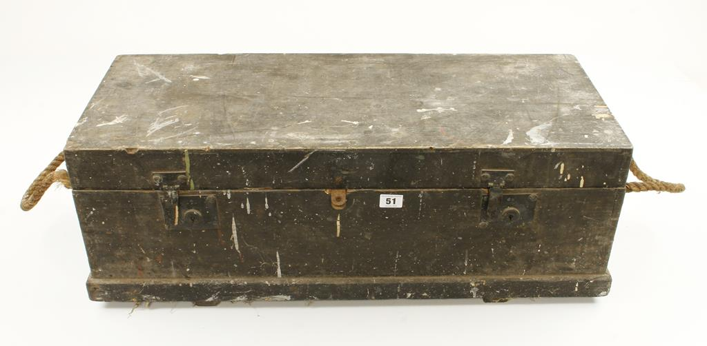 Lot 51 - A shipwright's tool chest with rope handles with a quantity of augers G