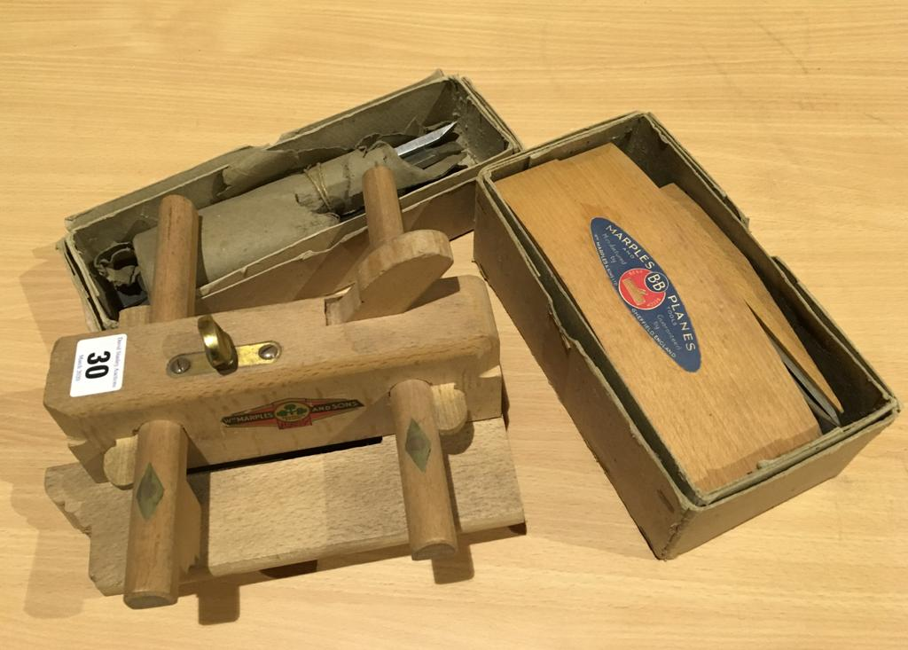 Lot 30 - Am unused beech smoother in orig box and a plough with irons both by MARPLES with orig trade labels