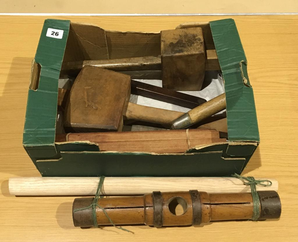 Lot 26 - Three mallets and other tools G