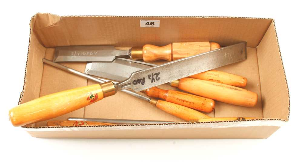 Six paring chisels and gouges and two bevel edge chisels G+ - Image 2 of 2