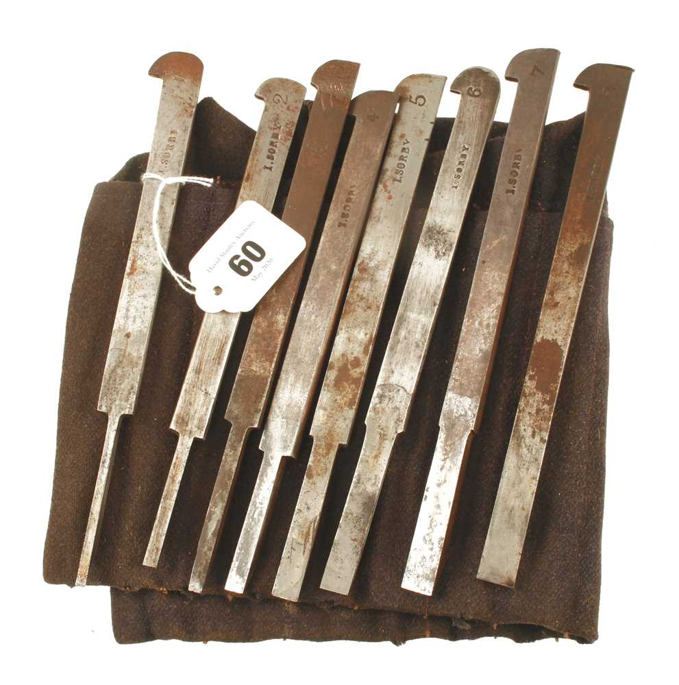 A set of 8 plough irons by SORBY G