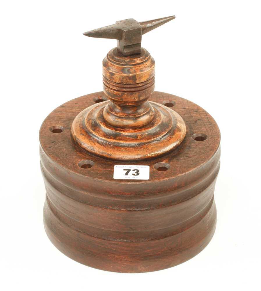 "A 3 1/2"" jeweller's anvil on hardwood base G+"