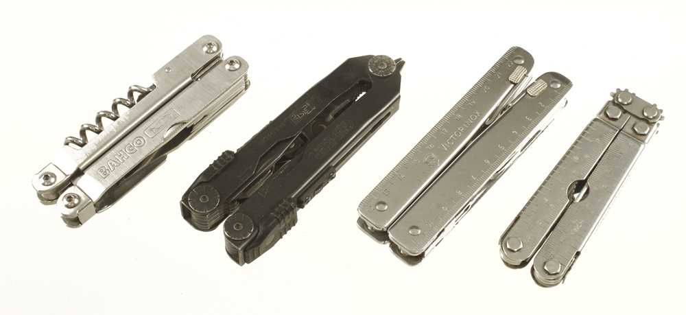 Lot 37 - Four combination knives/tools by BAHCO (saw blade snapped) GERBER, SOG and VICTORINOX G++