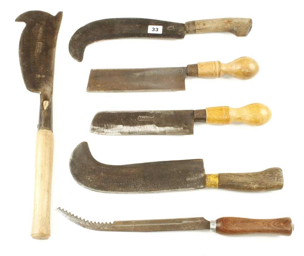 Lot 33 - Six billhooks or hedging tools G+