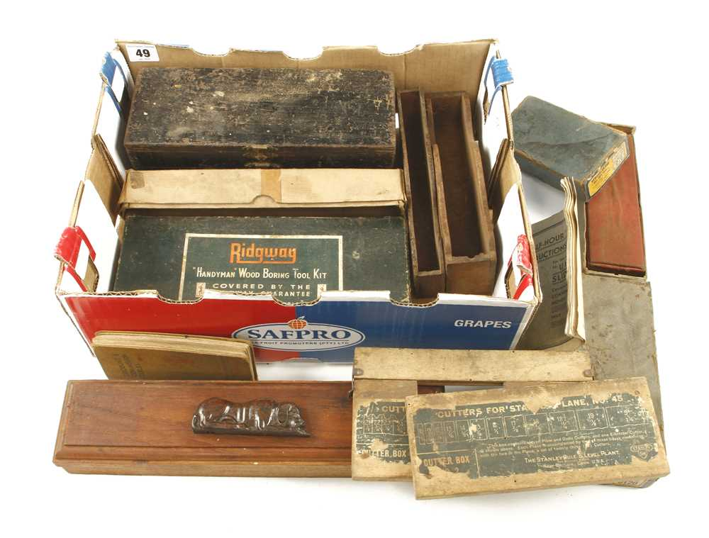 Lot 49 - Quantity of cardboard tool boxes etc. incl. RUSSELL JENNINGS box for 13 auger bits G