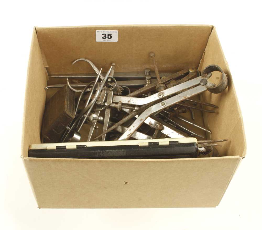 Lot 35 - 18 engineer's calipers and dividers G