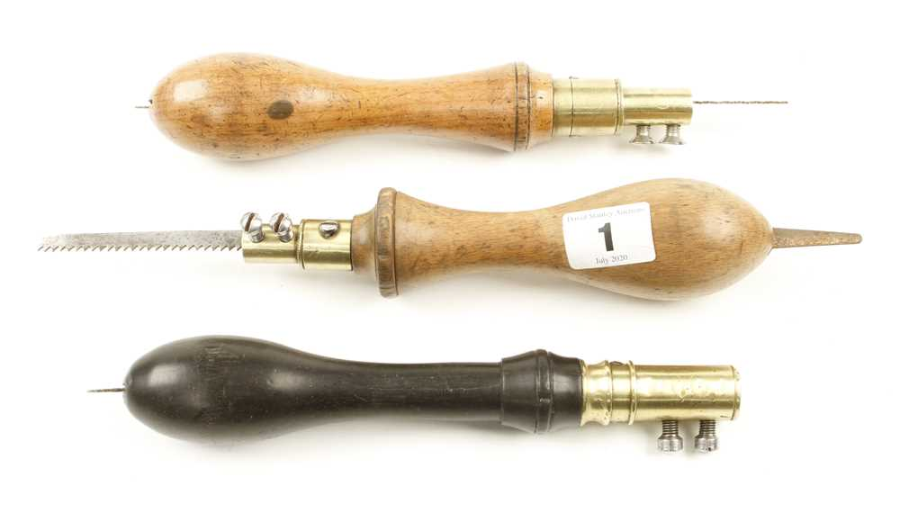 Lot 1 - Two beech padsaw handles and one in ebony G+