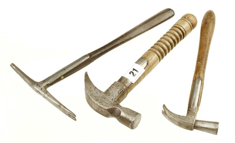 Lot 21 - A small claw hammer by TIMMINS and two others G+