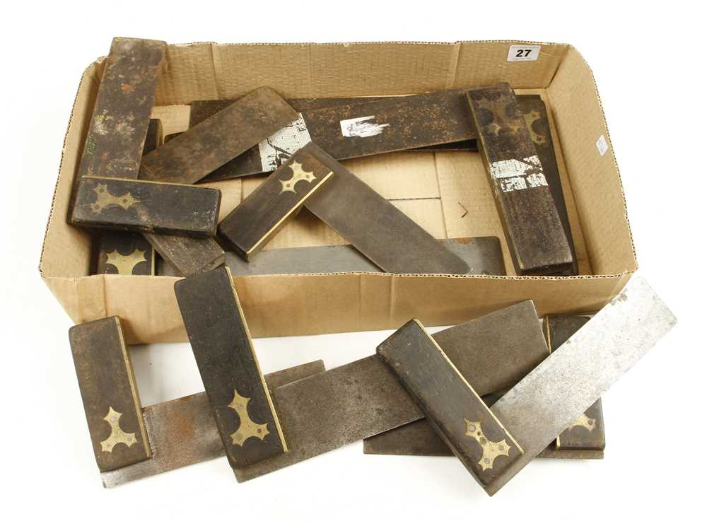 Lot 27 - Ten ebony and brass squares G