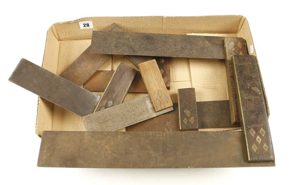 Lot 28 - Eight rosewood and brass squares some light rust G