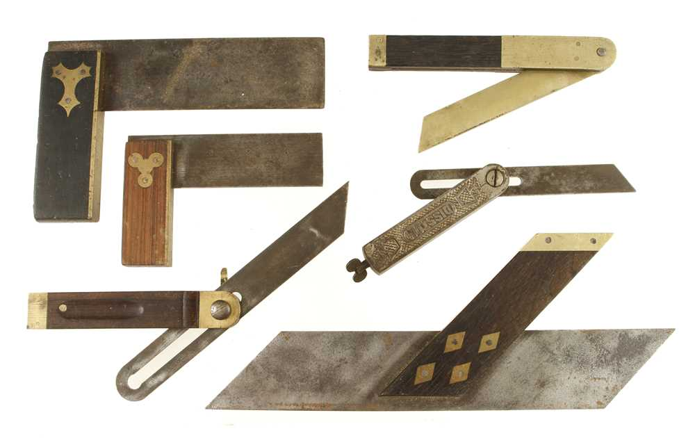 Lot 53 - Three rosewood and ebony squares and 3 bevels G+