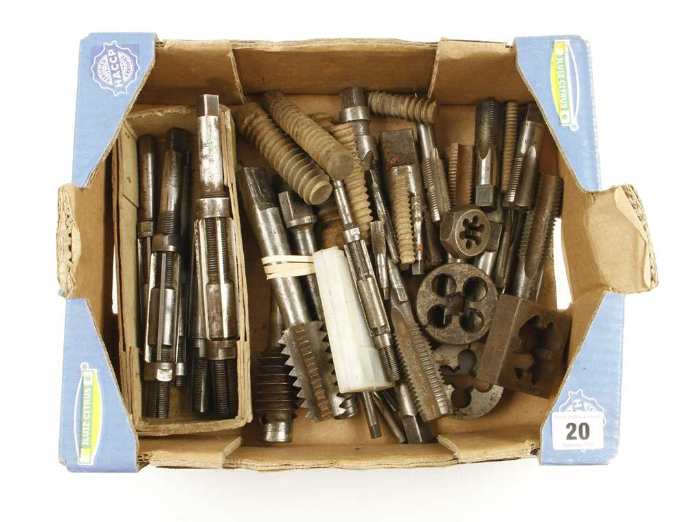 Lot 20 - Quantity of taps, dies reamers etc G