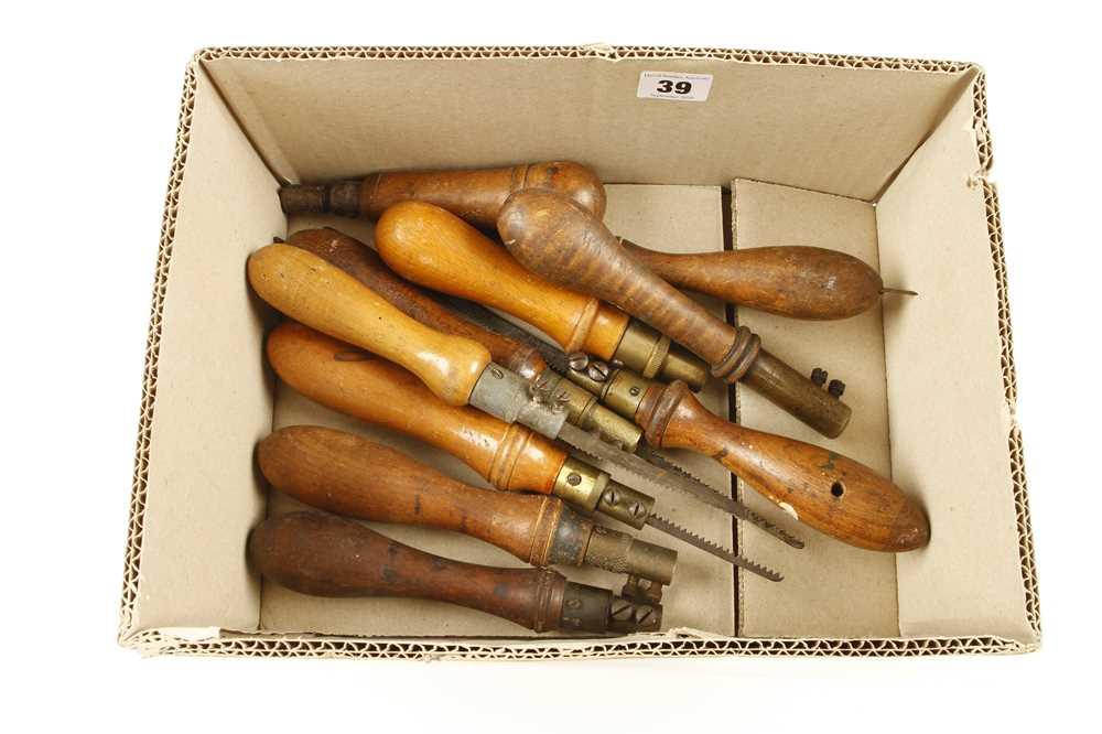 Lot 39 - Ten beech handled pad saws G+
