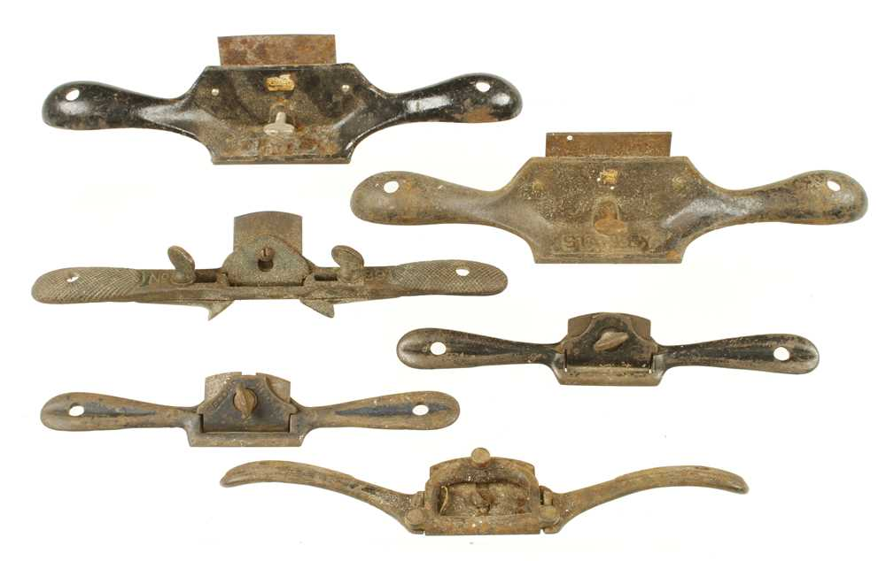 Lot 42 - Two STANLEY No 80 scrapers and four steel shaves, well used G