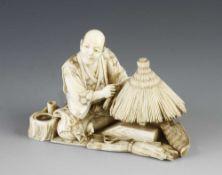 "An ivory okimono of a straw parasol maker by Seyio 3"" x 2"""