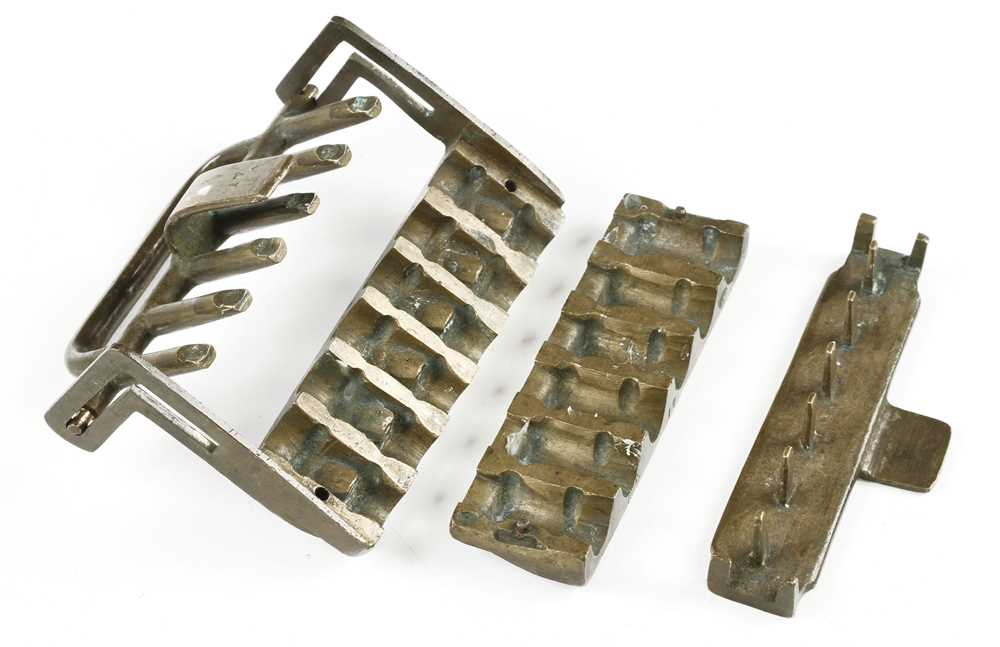 A rare brass four piece gang mould for pressing horn mouth pieces for musical instruments G+ - Image 3 of 3