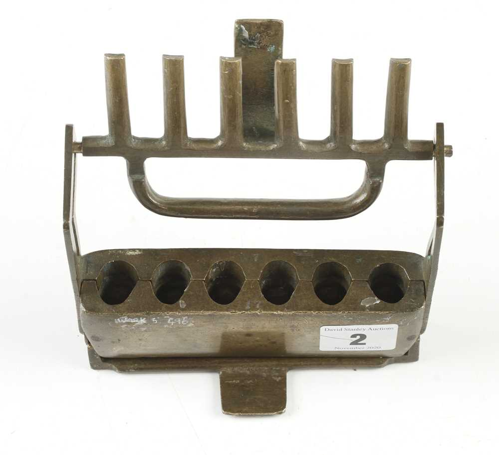 A rare brass four piece gang mould for pressing horn mouth pieces for musical instruments G+ - Image 2 of 3