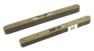 "Two brass topped ebony levels 9"" and 10"" G+"
