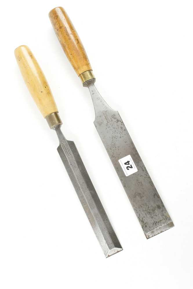 """A 2"""" tapered chisel by BRADES and a 1 1/4"""" bevel edge chisel by MARPLES G+"""