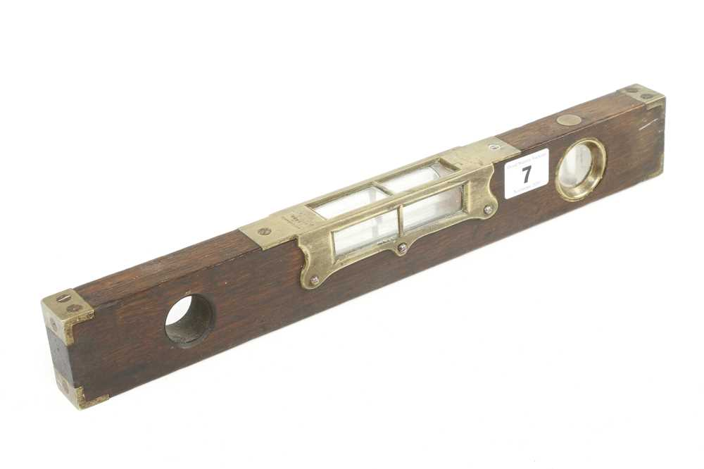 "A 15"" PRESTON mahogany and brass level and plumb, crack to one glass G"