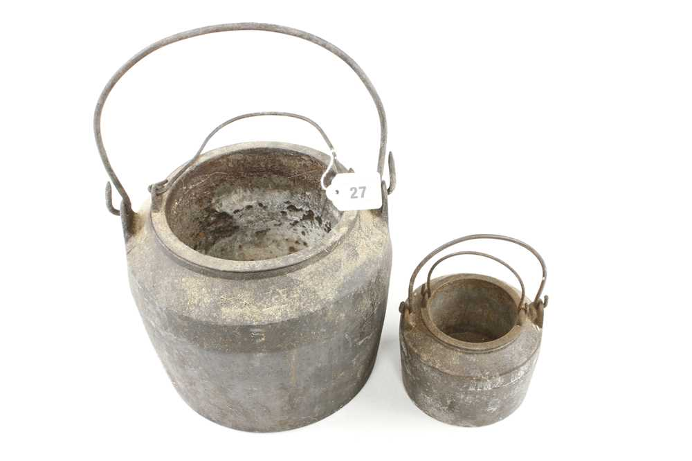 Two cast iron glue pots, one small chip to one G+