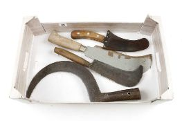 Two billhooks and two other tools G
