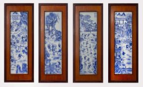 """A set of four Chinese blue and white porcelain plaques, Republic Period, painted with scenes of """""""