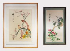 Two Chinese silk embroidered pictures, each decorated with birds perched on a branch, black