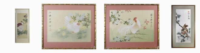 A Chinese silk embroidered picture, frame size 59 x 32cm and three paintings on silk.