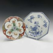 A Chinese export blue and white porcelain octagonal plate, 18th century, with floral sprays, width