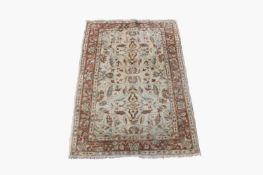 A Ziegler design chobi rug, the ivory field with all over design of scrolling flowering vines and