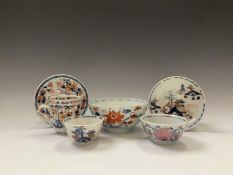 A selection of Chinese Imari porcelain items, 18th century, comprising a bowl, cup and saucer, tea