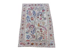 An embroidered Suzani, Uzbekistan, Central Asia, the central tree of life with flowering plants
