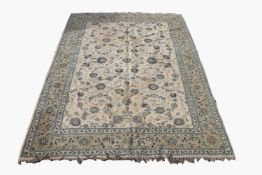A Kashan carpet, Central Persian, signed cartouche to one end, the ivory field with all over