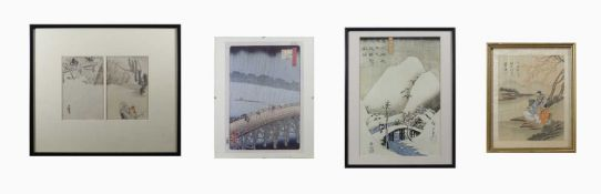 A Japanese woodblock print, Art World series, circa 1891, frame size 39 x 44.5cm, with receipt of