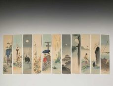Eleven Japanese unframed watercolours, early 20th century, 32.6 x 7.4cm.
