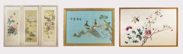 Two Chinese silk embroidery pictures of birds and flowering branches, framed and glazed, 40.5 x 55.