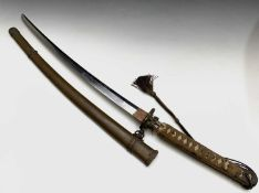 A Japanese WWII Katana sword, handle signed, with steel blade and tsuba, shagreen handle covered