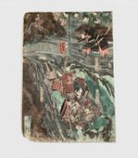 Utugawa Kuniyoshi (1798-1861) Japanese coloured woodblock print of samurai warriors, 36 x 25.5cm.