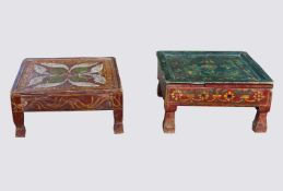 Two Indian small low painted tables, green table height 15.5cm, 31cm square and red table height