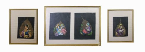 Four Indian paintings on leaves, in three gilt frames, size of double frame 34 x 47.5cm.