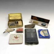 A 1914 Queen Mary brass Christmas box, an ivory aide memoire and sundry items.